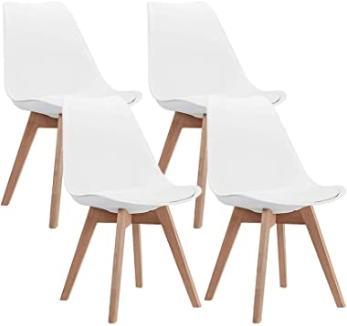 CangLong Mid Century Modern DSW Side Chair with Wood Legs for Kitchen, Living Dining Room, Set of 4, White