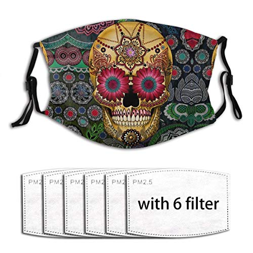 Mundschutz Mexikanische farbige Schädel Anti Staub verstellbare Outdoor Cosplay Kostüm Maske für Männer Frauen