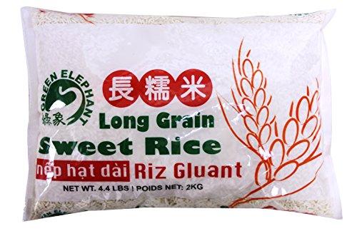 长糯米 Green Elephant Thai Pure White (Glutinous) Long Grain Sweet Rice 4.4 lbs