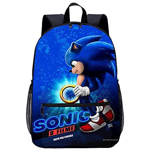 Mochila 3D Mochila Infantil Película de animación de dibujos animados de Sonic the Hedgehog Adecuado para: estudiantes de primaria y secundaria, la mejor opción para viajes al aire libre Tamaño: 45x