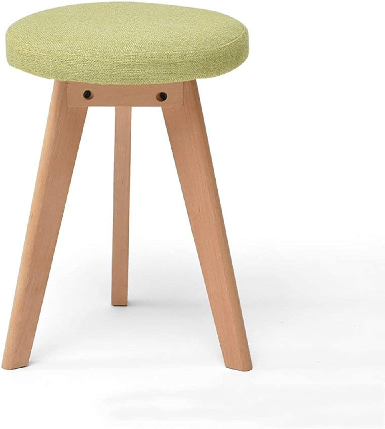 FW Solid Wood Stool, Home Creative Dressing Fashion Short Stool, Fabric Small Bench Dining Table Stool (color   A, Size   One)