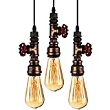 WINSOON 3 Pack Antique Pipe Light Fixture Rustic Bronze Metal Hanging Pendant Lighting