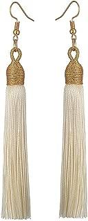 Boho Thread Long Tassel Dangle Drop Fringe Earrings Silk Fabric Vintage Charms Eardrop (Beige)