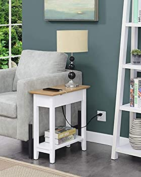 Convenience Concepts American Heritage Flip Top End Table with Charging Station Driftwood/White