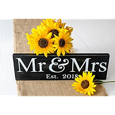 Craftwize Mr & Mrs Sign (GIFT BOX included), 2018 Large ~ Wedding Present, Newlywed Gift/Decoration