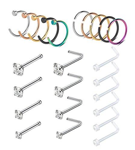 YOVORO 20G 24PCS 316L Stainless Steel Nose Rings Hoop Nose Studs Cartilage Hoop Tragus Ear Piercing 8MM