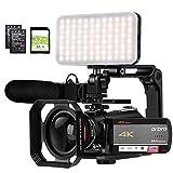ORDRO AC5 Camcorder 4K 12X Optische Zoom-Videokamera 1080P 60FPS Vlog-Videokamera mit Mikrofon, Kamera-LED-Licht, Weitwinkelobjektiv, Kamerahalter und 32G SD-Karte