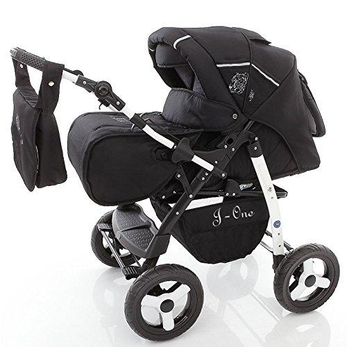 Chilly Kids J1 2 en 1 Poussette combinée (habillage pluie, moustiquaire 07 couleurs) 04 ombre noire