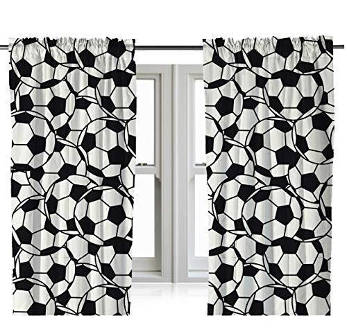 Zappi Co Vorhänge Gardinen Optik Fußball-Stickerei 182cm für Kinderzimmer Wohnzimmer Fenster Tülle Vorhänge Transparente Dekoschal 2er Set je
