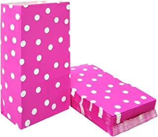 50 PCS Pink Polka Dot Paper Bags Lunch Goodie Bags for Snack Nuts Candy Cookie Treat Bags for Kids' Birthday Wedding Party Favor Bags (5.1 x 3.1 x 9.4 in Pink)