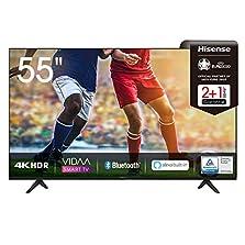 Hisense 55AE7000F 139 cm (55 Zoll) Fernseher (4K Ultra HD, HDR, Triple Tuner DVB-C/ S/ S2/ T/ T2, Smart-TV, Frameless, Bluetooth, Alexa), Schwarz©Amazon