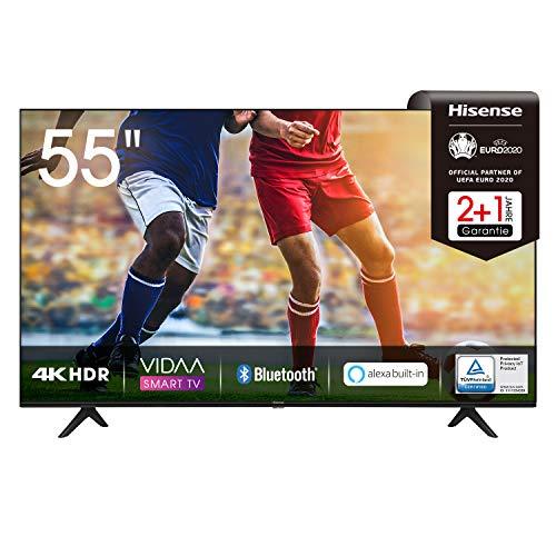 Hisense 55AE7000F 139 cm (55 Zoll) Fernseher (4K Ultra HD, HDR, Triple Tuner DVB-C/S/S2/T/T2, Smart-TV, Frameless, Bluetooth, Alexa, 3 Jahre Garantie)