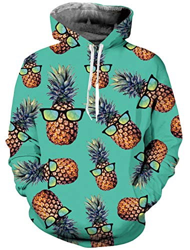 Men and Women Novelty Fleece Hoodies Pineapple Glass Tropical Hawaiian Pullover Hoodies Green Cool Athletic Sweaters Hooded Sweatshirt