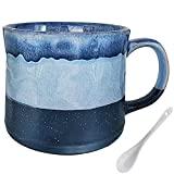 Large Ceramic Coffee Mug Cup, 1PCS Blue Big Tea Cup with Handle Porcelain Ceramic Travel Mug for Office Staff or Home Using, 21 Oz Classic Style Drinks Cup, Dishwasher and Microwave Safe