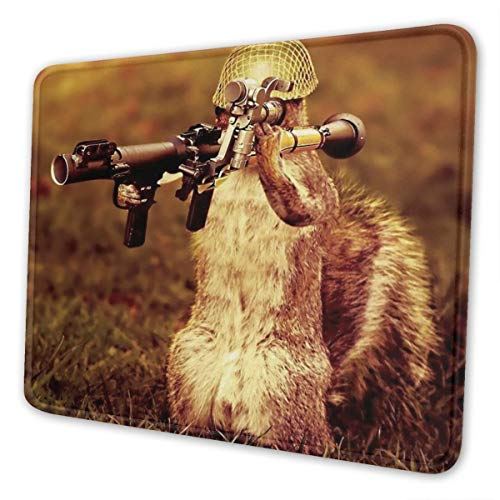 Gaming Mouse Pad - Squirrel with Gun Rectangle Rubber Mousepad - 7.9 X 9.5 in X 0.12''(3mm Thick) Mouse Mat for Gift Support Wired Wireless Or Bluetooth Mouse