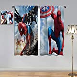 ARYAGO Black Out Cortinas Spiderman, Spiderman Man & Capitán América, cortina de ventana de tela para dormitorio/sala de estar de 2014 cm x 2013 cm