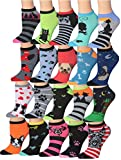 Tipi Toe Women's 20 Pairs Colorful Patterned Low Cut/No Show Socks WL22-AB