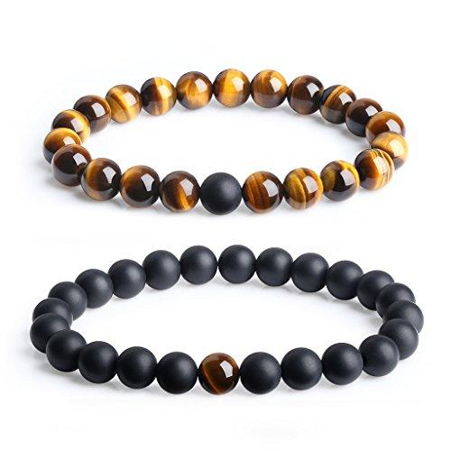 Coai®, braccialetti portafortuna, con pietre preziose, gioielli di coppia, idea regalo, personalizzabile, colore: Tigerauge, cod. N339-1
