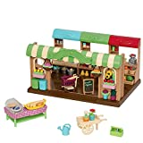 Li'l Woodzeez Store Playset – Hoppin' Farmers Market – 97pc Toy Market Set with Play Food and Shopping Accessories – Toys for Kids Aged 3 and Up