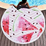 Uobettsly Round Beach Towel Oversized Beach Blanket Tassels 59'' Creative Fruits Theme Watermelon Pattern Beach Towel Round Yoga Mat Camping Picnic Vacation Mat (Watermelon C)