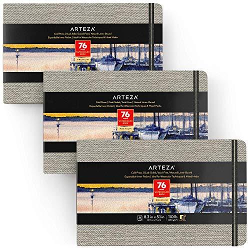Arteza Libreta de acuarelas | 21 x 13 cm | Pack de 3 | 76 hojas| Papel prensado en frío | 230 gsm | Tapas de lino + cinta marcadora + correa elástica | Bloc de dibujo de acuarela y medios mixtos