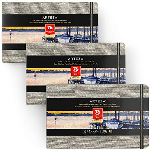 Arteza 5.1x8.3 Inch Watercolor Book, Pack of 3, 76 Pages per Pad, 110lb/230gsm, Cold Pressed Paper, Linen Bound with Bookmark Ribbon and Elastic Strap, Art Supplies for Watercolor Techniques