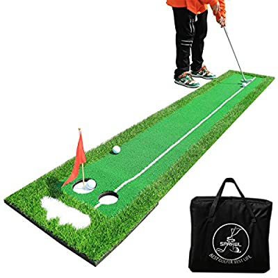 SPRAWL Golf Putting Green Mat - Professional Golf Practice Mat- Golf Training Mat with Two Target Hole Carrying Bag for Indoor/Outdoor