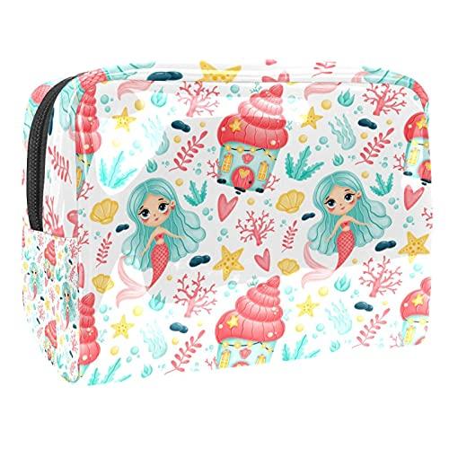 Multifunzione Beauty Case da Viaggio sirena carino Travel Bag Cosmetici Trucco Sacchetto Pigro Grande capacità Trucco Borsa di Make-up Borse per Donne 18.5x7.5x13cm