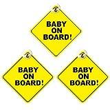 N/H 3pcs Baby on Board Signo extraíble, advertencia de seguridad para niños bebé a bordo, señal de advertencia de coche con ventosas