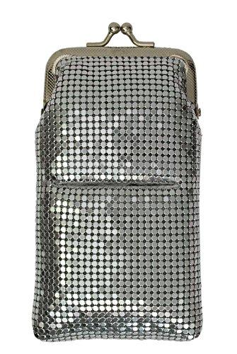 New Design Sequin Cigarette Soft Mesh 100s 120 S Cigarette Case with Lighter Pocket By Marshal (Silver)