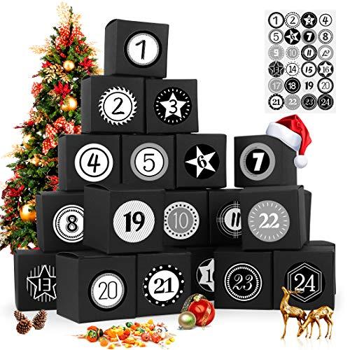 Calendario de Adviento, 24 Calendario Adviento, con Adhesivos Digitales de Adviento, 2020 Bolsa para Calendario de Adviento, DIY Bolsa de Regalo Navidad, Rellenar Calendario de Adviento (negro)