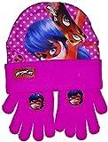 Miraculous Ladybug Juego de gorro y guantes de invierno rosa Talla única