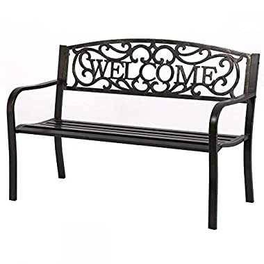 50  Patio Garden Bench Park Yard Outdoor Furniture Steel Frame Porch Chair