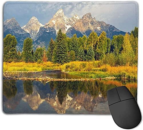 Alfombrilla de ratón para juegos, Parque Nacional Grand Tetons en el río Schwabacher con reflejo de los picos de las montañas, alfombrilla de ratón con base de goma antideslizante para ordenadores por
