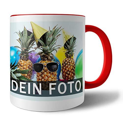 Tasse mit persönlichem Foto und Text zum selbst gestalten (Fototasse, Kaffeebecher mit individuellem Druck, farbiger Henkel und Trinkrand, mit personalisierbarem Foto, spülmaschinenfest), rot