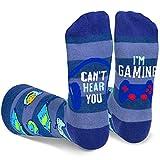 GamingSocks Men, Novelty Funny Gamer Mid Calf Socks Gift for Game Lovers Teen Boys Kids Sons