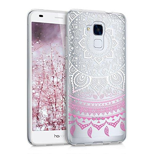 kwmobile Coque Compatible avec Huawei Honor 5C - Housse Protectrice pour Téléphone en Silicone Soleil Indien Rose Clair-Blanc-Transparent