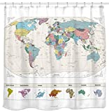 New! Map of the World with Detailed Major Cities. PVC Free, Non-Toxic and Odorless Water Repellent Fabric Shower Curtain. Large Home Decor. 71'' x 71'' Wall Map.