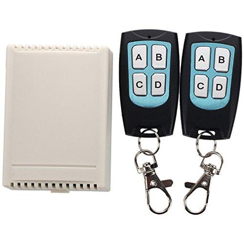 Fransande - Conmutador RF con mando a distancia para control remoto de 12 V, 4 canales, 200 m, 2 emisores y receptor