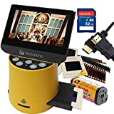 Wolverine Titan 8-in-1 20MP High Resolution Film to Digital Converter with 4.3' Screen and HDMI Output, Worldwide Voltage 110V/240V AC Adapter, 32GB SD Card & 6ft HDMI Cable Bundle (Yellow)