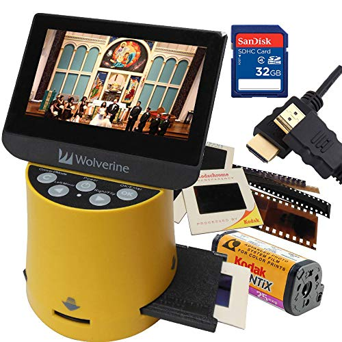 """Wolverine Titan 8-in-1 20MP High Resolution Film to Digital Converter with 4.3"""" Screen and HDMI Output, Worldwide Voltage 110V/240V AC Adapter, 32GB SD Card & 6ft HDMI Cable Bundle (Yellow)"""