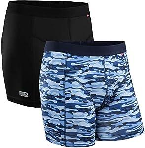 DANISH ENDURANCE Calzoncillos Bóxer de Deporte Pack de 2 (Multicolor: 1 x Negro, 1 x Azul Camuflaje, Large)
