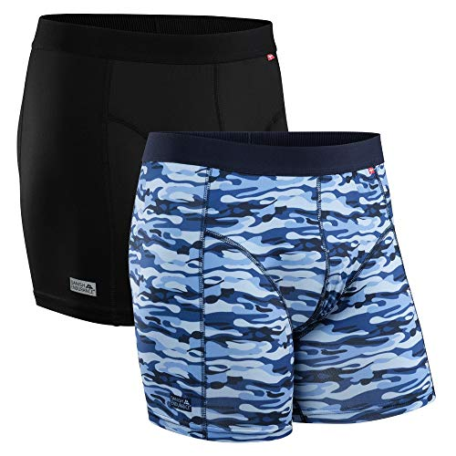 DANISH ENDURANCE Herren Sport Boxershorts 2 Pack (Mehrfarbig (1 x schwarz, 1 x Camouflage blau), Medium)