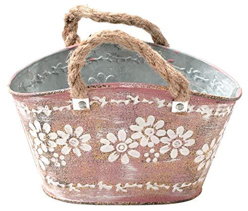 Huwi Metall Tasche Mit Margeriten Antik Rosa Blumenschale Balkonschale Tischdeko Blumendeko Tasche...