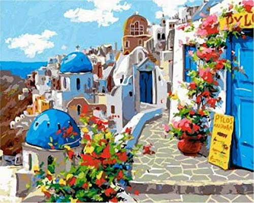 Primavera En Santorini Digital Diy Pintura Al Óleo Por Números Decoración De La Pared Sobre Lienzo Pintura Al Óleo Para Colorear Por Número De Dibujo