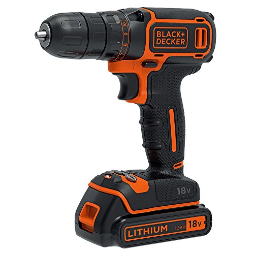 BLACK+DECKER 18 V Cordless Electric Drill Driver with 10 Torque Settings, 1.5 Ah Lithium-Ion, BDCDC18-GB