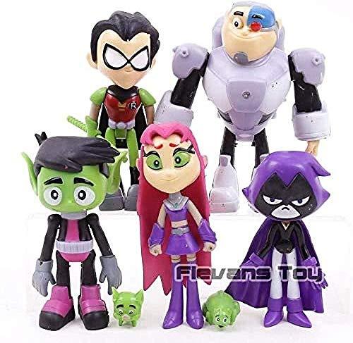 Teen Titans Go Robin Cyborg Beast Boy Starfire Raven Silkie PVC Figuras de acción Juguetes para niños Regalos 7pcs / Set