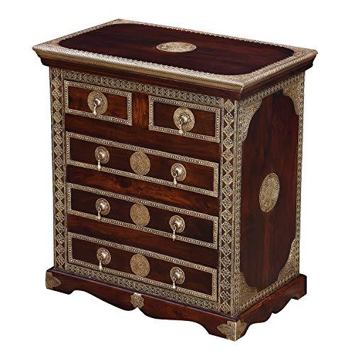 Casa Moro Orientalische Kommode Malek braun 75x45x80 (BxTxH) aus Massivholz Sheesham mit feinen Messingintarsien verziert | Kunsthandwerk Pur | Nachttisch mit 5 Schubladen | MA80-140