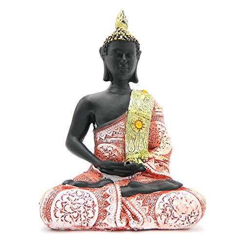 Rockin Buddha Statue Light Brick Color Dress Antiques Mosaic -8 inches Tall Pattern Decoration Mantra Buddha Home Decoration Office Meditation Room Temple