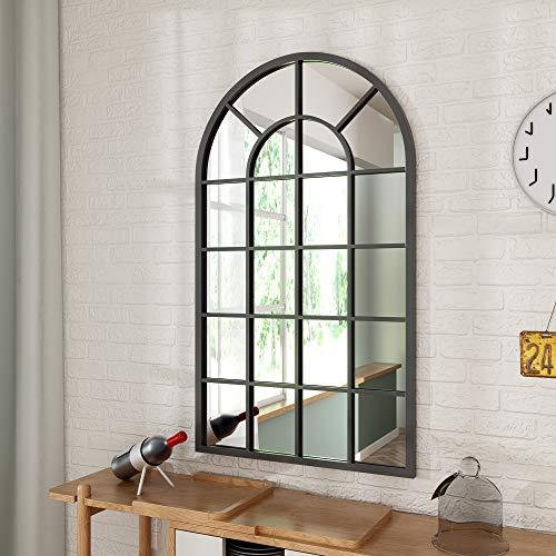 ブラックアーチ型ウィンドウペイン 壁ミラー - 26インチ x 43インチ 壁用ウィンドウミラー